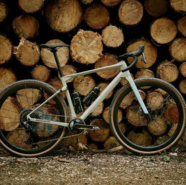 Bicycle wheel, Bicycle, Bicycle part, Wood, Vehicle, Bicycle tire, Mountain bike, Tree, Spoke, Wheel,