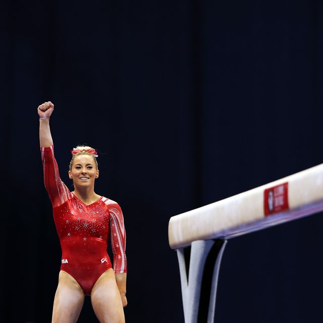st louis, missouri   june 25  mykayla skinner reacts after landing her dismount off the balance beam during the women's competition of the 2021 us gymnastics olympic trials at america's center on june 25, 2021 in st louis, missouri photo by jamie squiregetty images