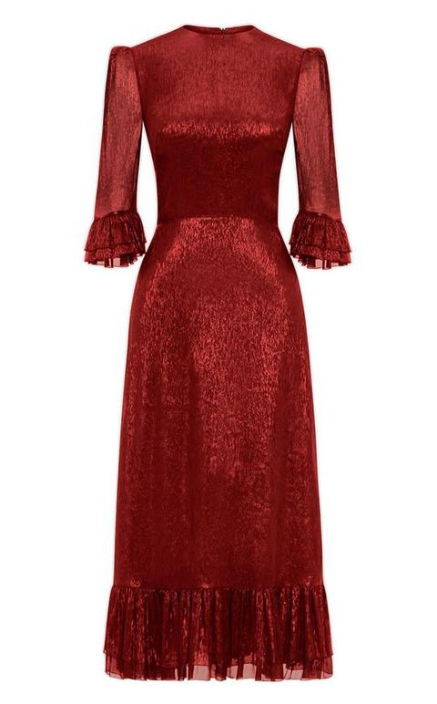 the vampire's wife red metallic frill detail dress
