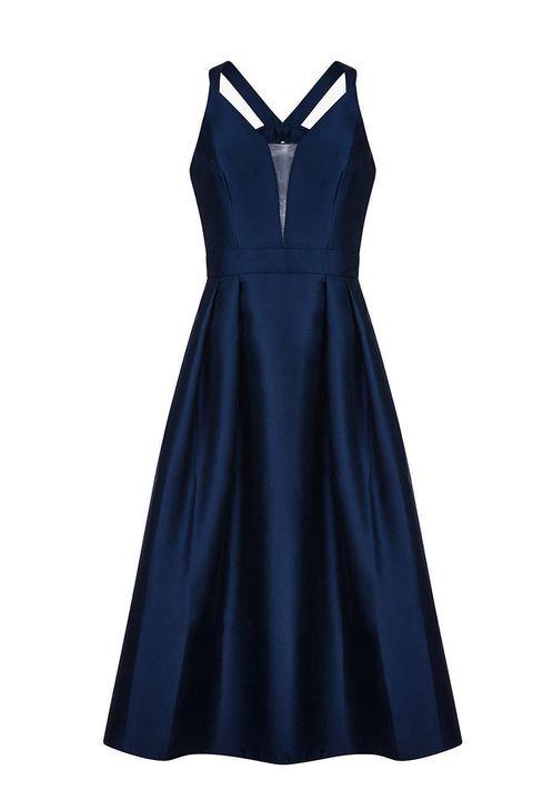 Adrianna Papell Mikado Tie Back Taffeta Dress, Midnight