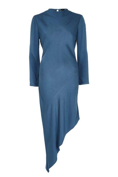 River Island Blue long sleeve asymmetric hem dress