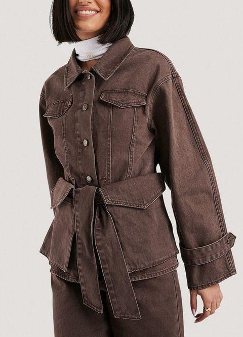 nakd denim jacket met tailleriem