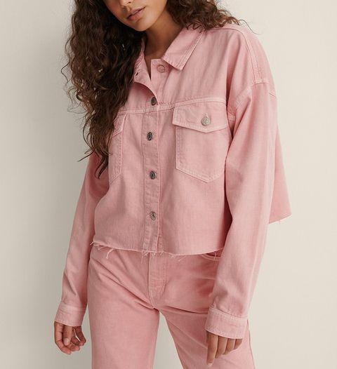 nakd roze cropped denim jacket