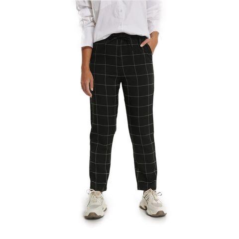 geruite broek met elastische taille na kd black