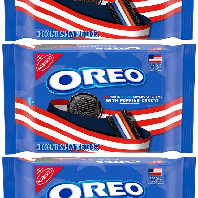 nabisco oreo team usa red, white, and blue popping candy cookies
