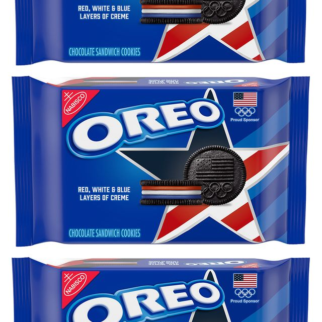 nabisco oreo team usa cookies with red, white, and blue creme