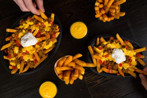 Dish, Cuisine, Food, Ingredient, Junk food, Cheese fries, Poutine, Fried food, French fries, Side dish,