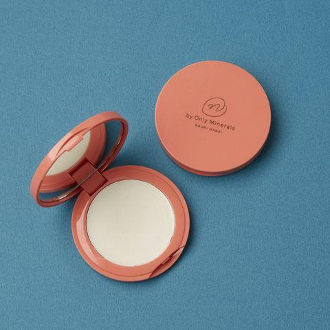 Orange, Peach, Face powder, Pink, Cosmetics, Circle, Material property, Metal,