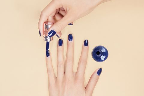 Nail, Blue, Finger, Manicure, Hand, Skin, Nail polish, Cosmetics, Nail care, Fashion accessory,