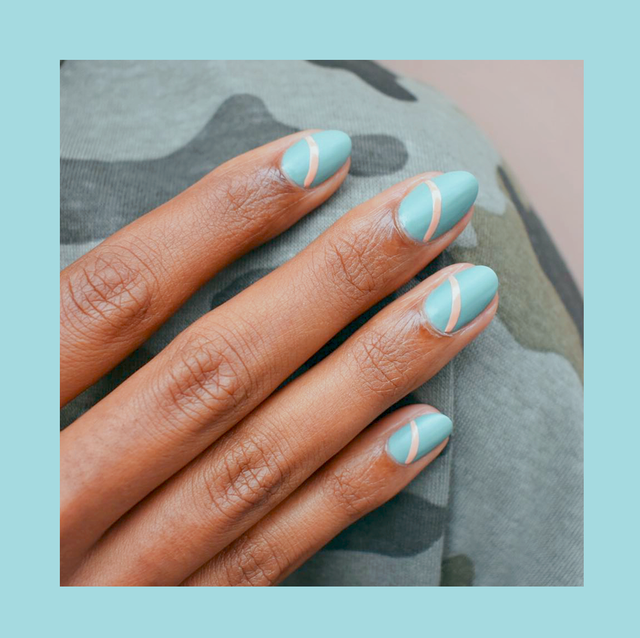 almond shaped nails with blue nail polish and square shaped nails with a floral manicure