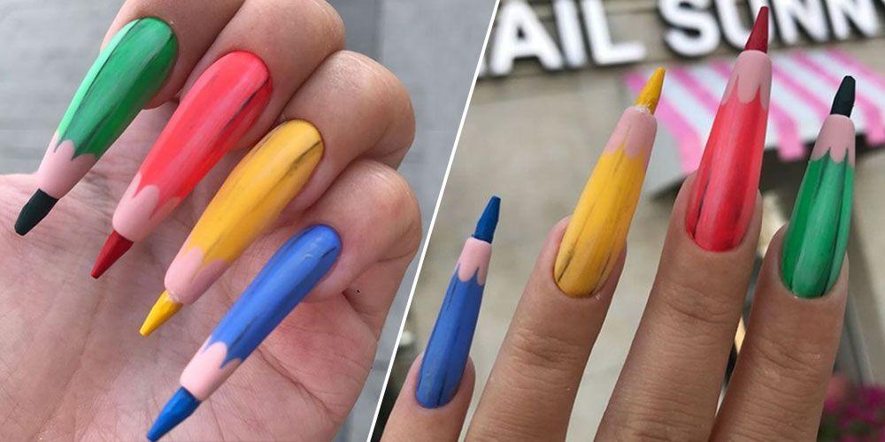 Colored Pencil Nail Art — Weird Nail Trends 2018