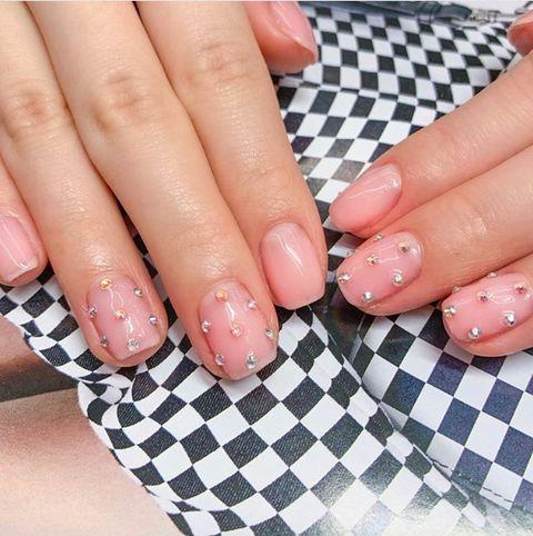 Nail, Finger, Manicure, Nail polish, Nail care, Cosmetics, Hand, Pink, Service, Polka dot,