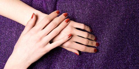 Nail, Manicure, Nail polish, Finger, Purple, Violet, Nail care, Hand, Cosmetics, Skin,