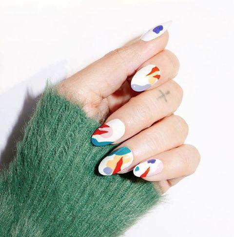 Nail, Manicure, Nail polish, Nail care, Finger, Green, Cosmetics, Blue, Orange, Hand,