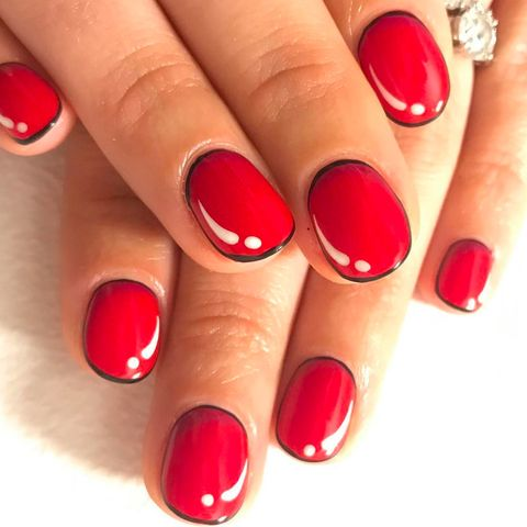 Nail polish, Manicure, Nail, Nail care, Red, Finger, Cosmetics, Beauty, Service, Material property,