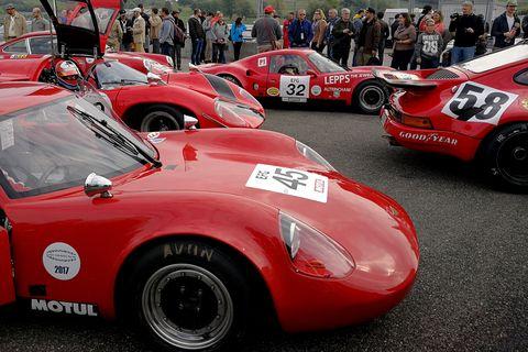 Land vehicle, Vehicle, Car, Red, Race car, Sports car, Classic car, Coupé, Sports car racing, Motorsport,