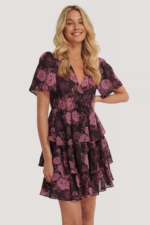 wijde jurk met drie lagen nakd boho, multicolor