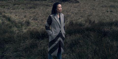 Grass, Outerwear, Photography, Screenshot, Long hair, Jacket, Black hair,