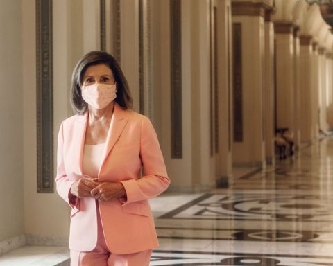 nancy pelosi in mask and pantsuit