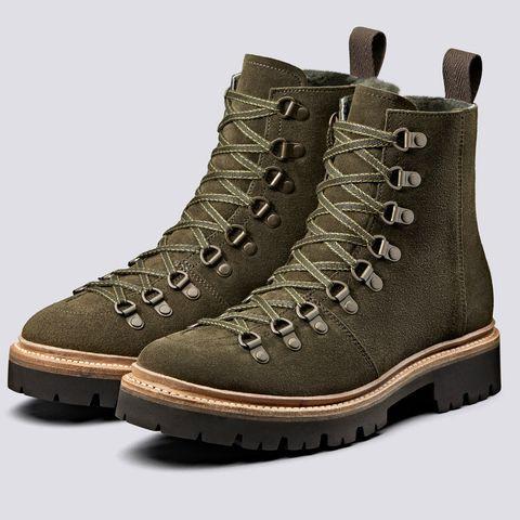 grenson nanette khaki suede boots walking boots chunky sole tread