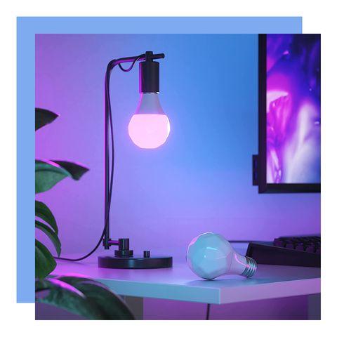 nanoleaf essentials a19 smart lightbulb in desk lamp