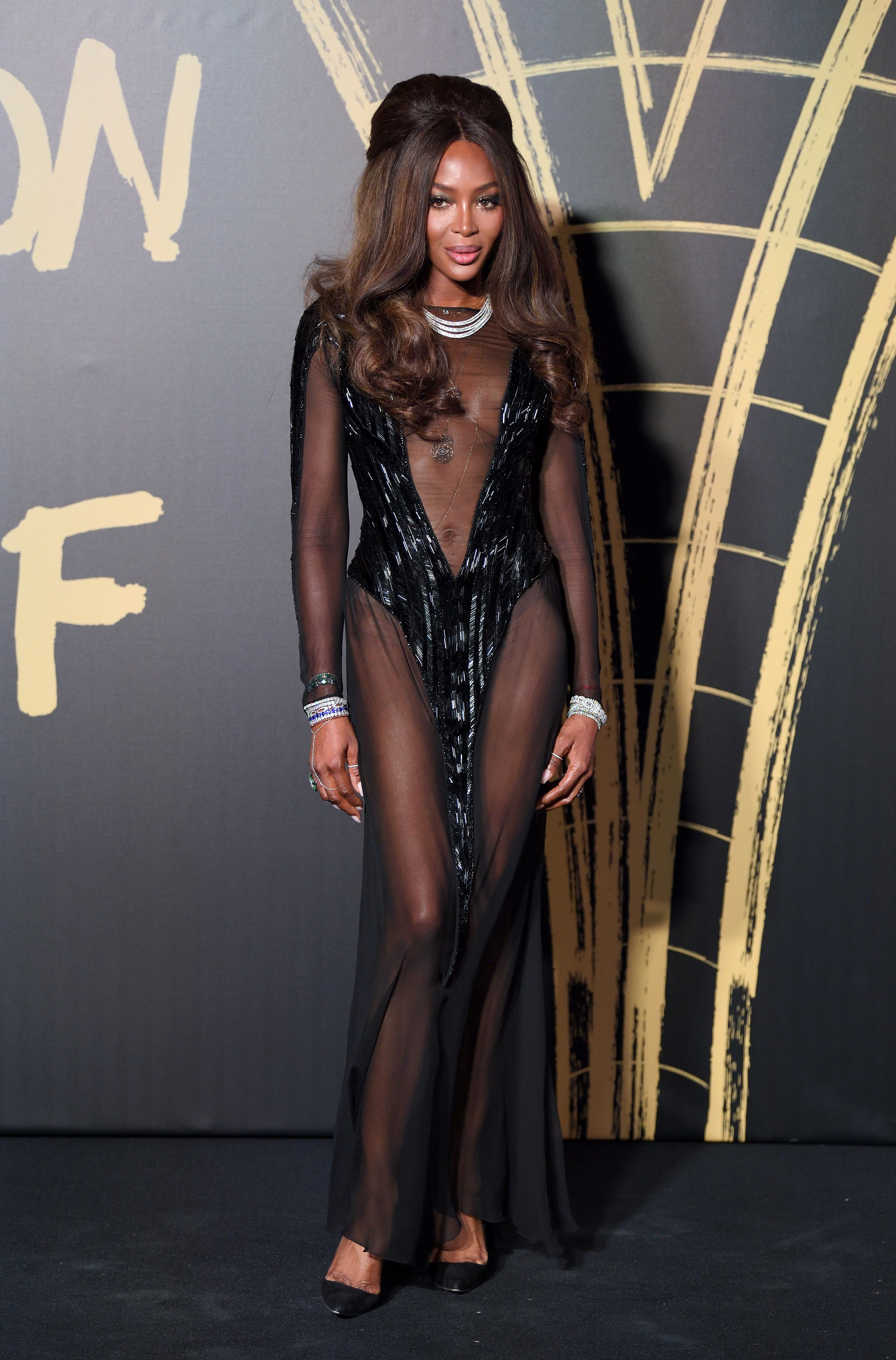 Naomi Campbell's Naked Dress Stole the Show at London Fashion Week