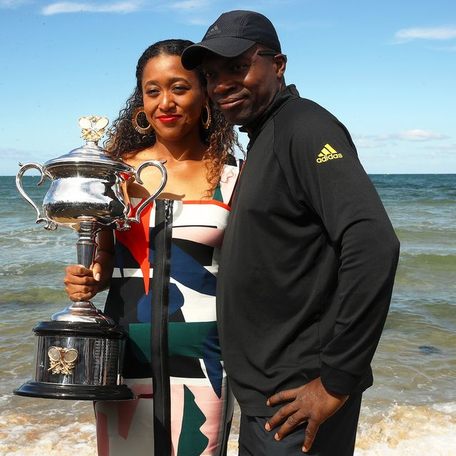 naomi's father leonard francois osaka with naomi osaka of japan posing with the daphne akhurst memorial cup during the women's australian open media opportunity at brighton beach on january 27, 2019 in melbourne, australia photo by julian finneygetty images