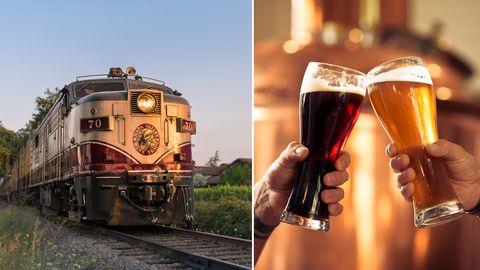napa valley wine train hop train beer