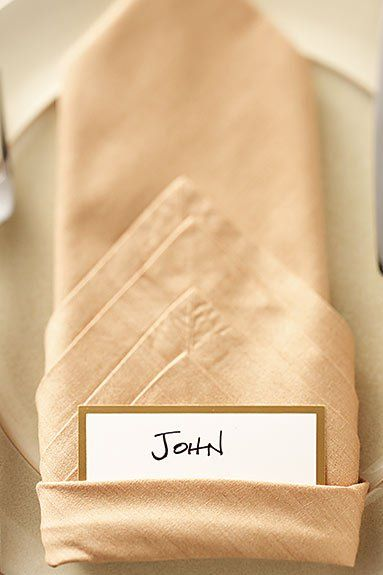 place card napkin folding ideas