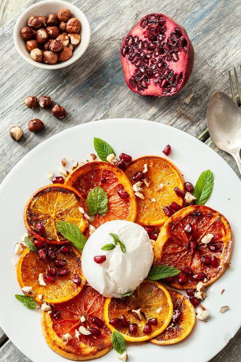 Naranjas quemadas con burrata