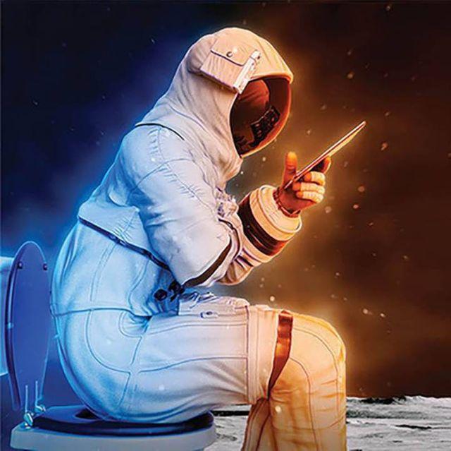 astronaut on toilet