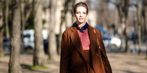 Street fashion, Clothing, Photograph, Fashion, Brown, Outerwear, Beauty, Neck, Scarf, Leather,