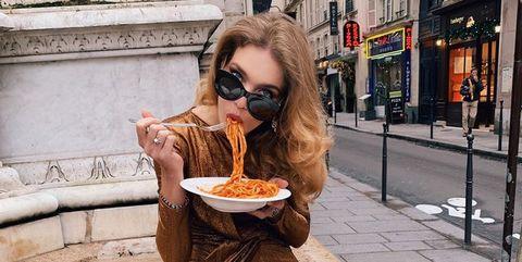 Dish, Eyewear, Food, Eating, Cuisine, Glasses, Long hair, Junk food, Vegetarian food, Street food,