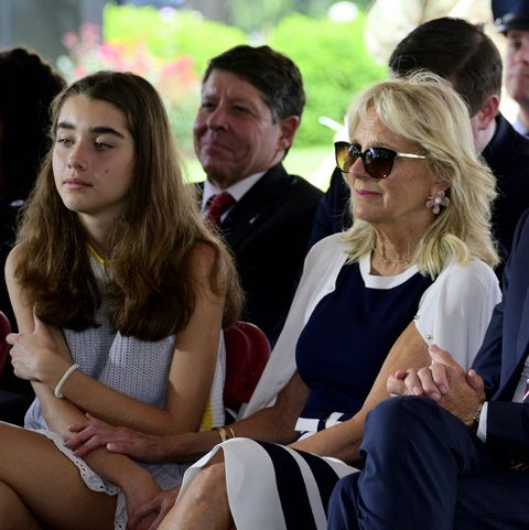 dr jill biden and granddaughter natalie biden on his side, attend the delaware memorial day ceremony, in new castle, de on may 30, 2019 photo by bastiaan slabbersnurphoto via getty images