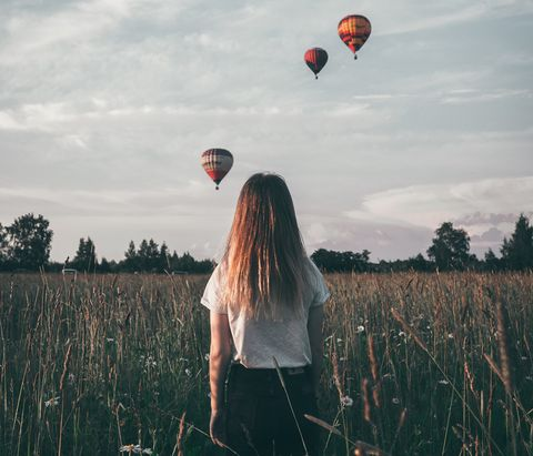 People in nature, Hot air balloon, Balloon, Sky, Hot air ballooning, Grass family, Cloud, Grass, Tree, Happy,