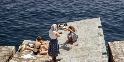Water, Sitting, Vacation, Summer, Leisure, Tourism, Sea, Rock, Sun tanning, Tree,