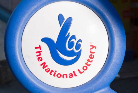 National lottery sign outside a Newsagents in the UK