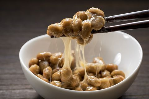 Natto is a traditional Japanese food produced by soybeans.