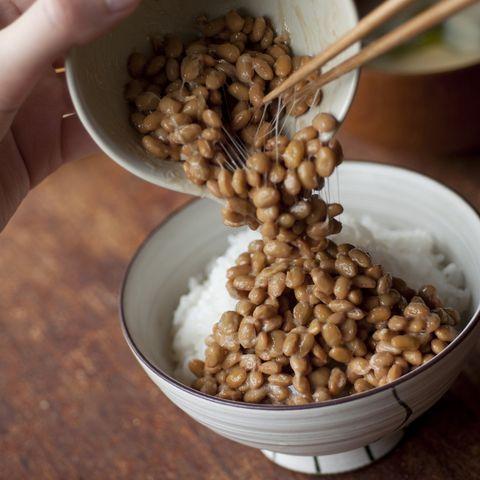 Natto on the rice, chopsticks