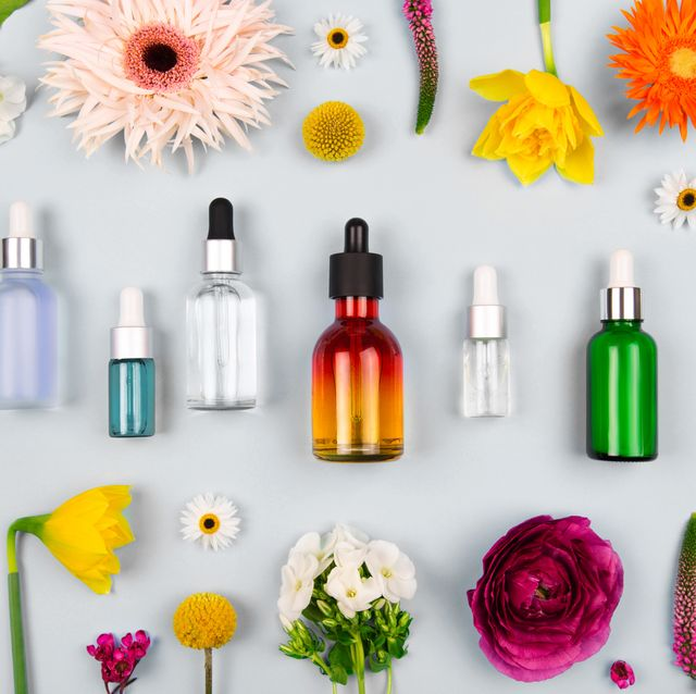 natural cosmetics oil in trendy colors of 2021 year
