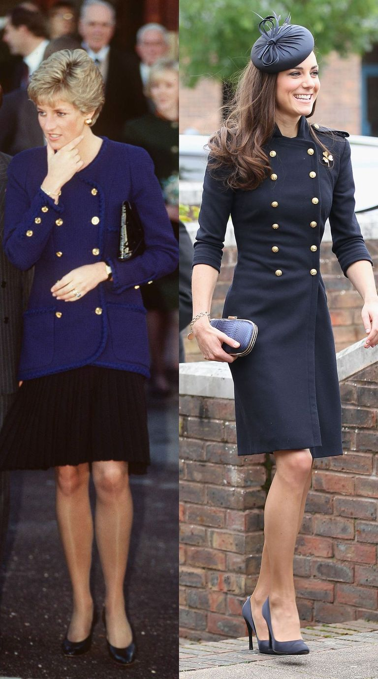 Princess Di wearing a royal blue admiral blazer with gold buttons while visiting Oxford in 1990, and Kate Middleton wearing an admiral-style Alexander McQueen dress coat at the Irish Guards Medal Parade in 2011.