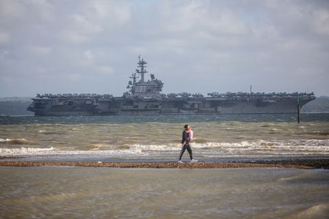 The USS George H W Bush Arrives In Portsmouth