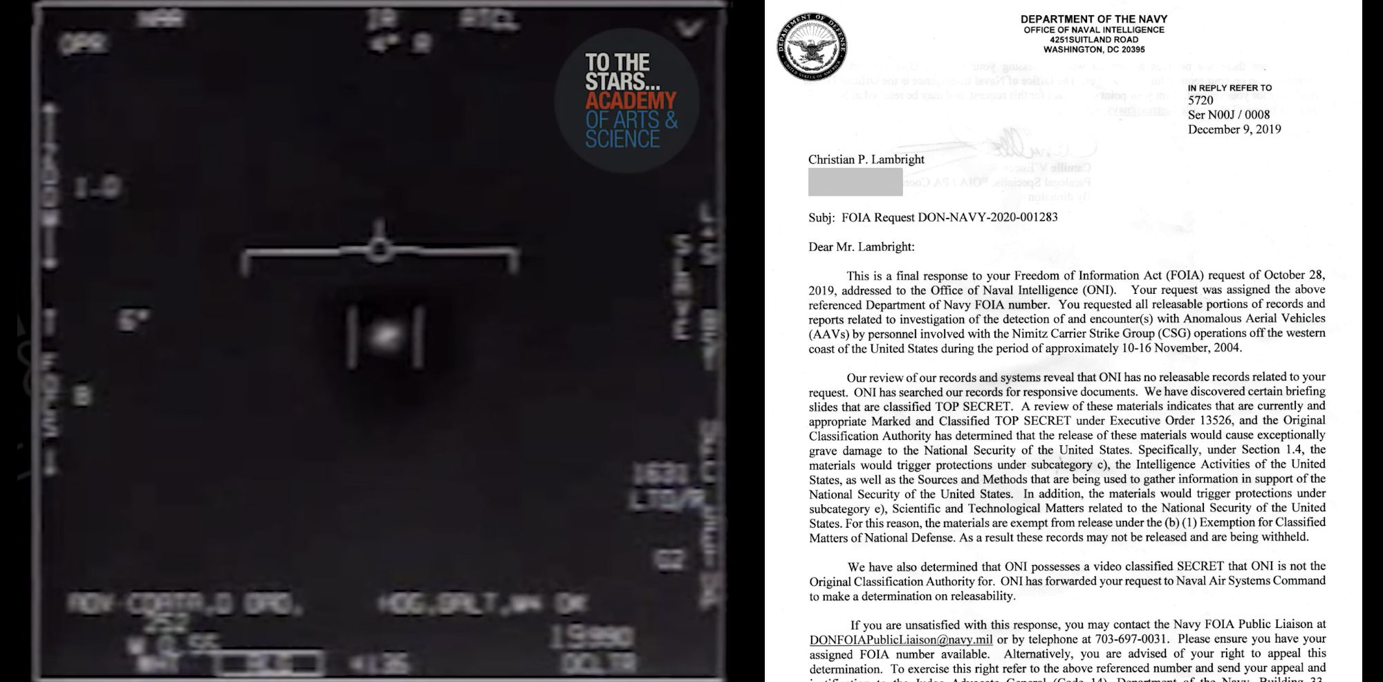 Navy Says Releasing UFO Videos Would 'Gravely Damage' National Security