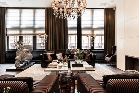 Room, Interior design, Living room, Furniture, Property, Dining room, Ceiling, Table, Building, Curtain,