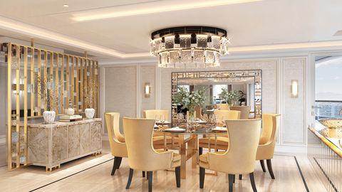 Dining room, Room, Ceiling, Interior design, Property, Furniture, Building, Lighting, Chandelier, Floor,