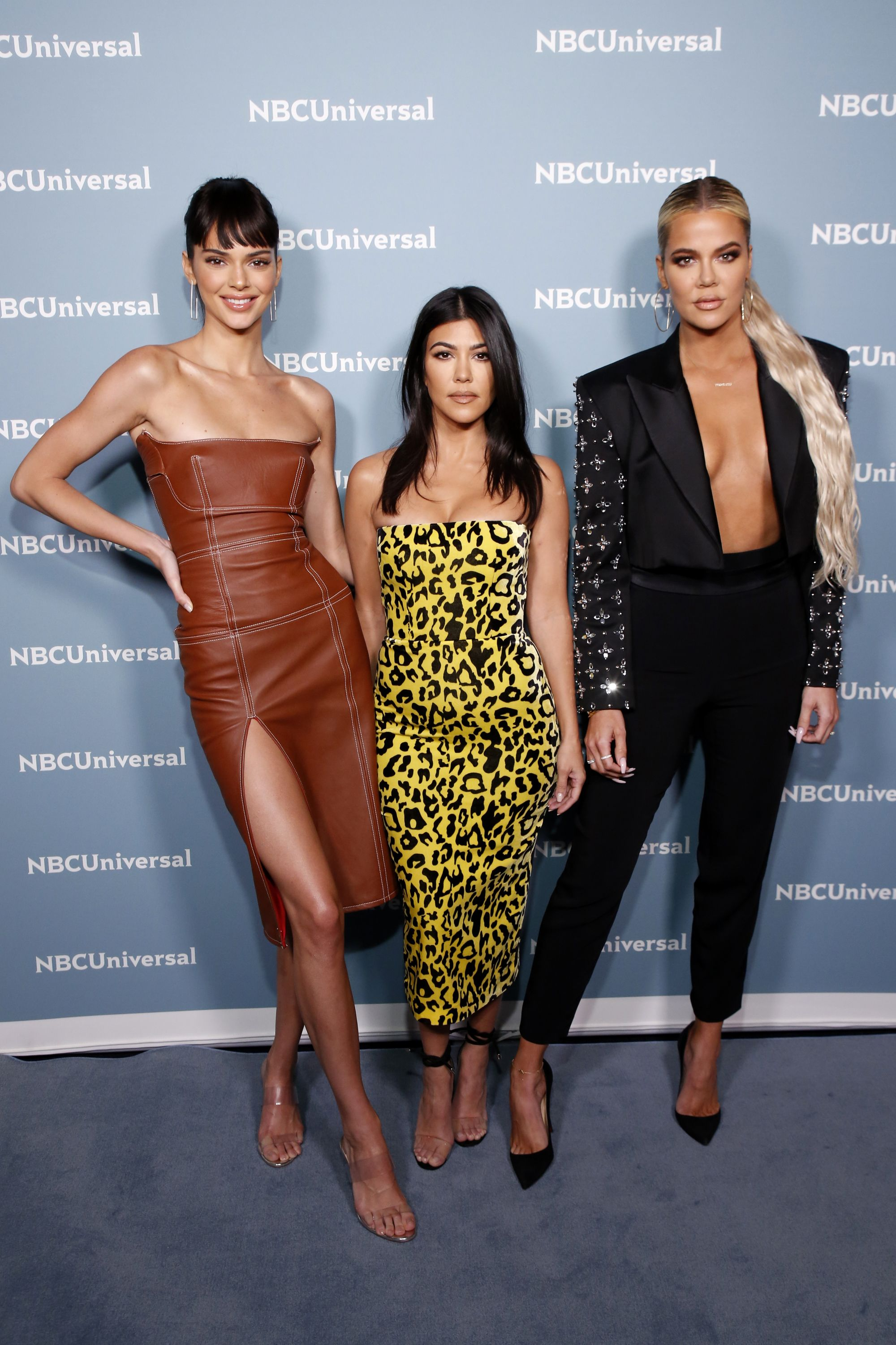 Kendall Jenner with Kourtney and Khloé at the E! Upfronts.
