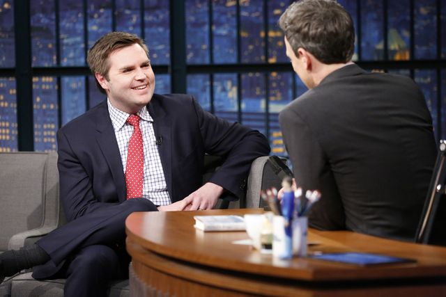 late night with seth meyers    episode 502    pictured l r author jd vance during an interview with host seth meyers on march 15, 2017    photo by lloyd bishopnbcnbcu photo bank