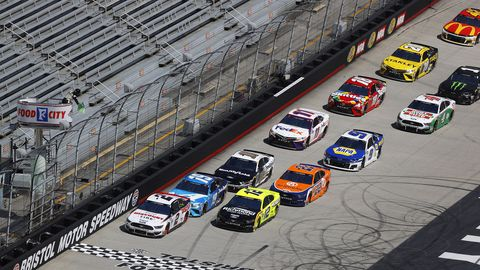 bristol, tennessee   may 31 brad keselowski, driver of the 2 discount tire ford, leads the field to start the nascar cup series food city presents the supermarket heroes 500 at bristol motor speedway on may 31, 2020 in bristol, tennessee photo by kevin c coxgetty images