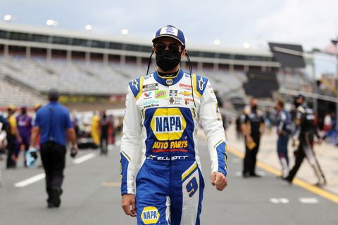 concord, north carolina   may 24 chase elliott, driver of the 9 napa auto parts chevrolet, walks the grid prior to the nascar cup series coca cola 600 at charlotte motor speedway on may 24, 2020 in concord, north carolina photo by chris graythengetty images