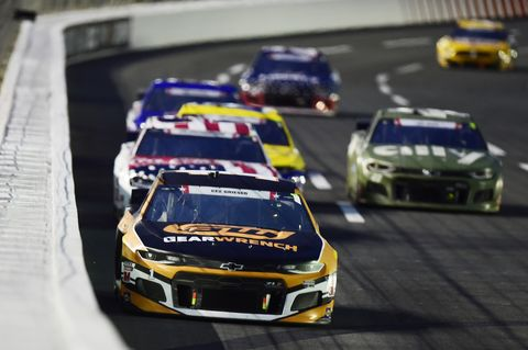 concord, north carolina   may 24 kurt busch, driver of the 1 gearwrench chevrolet, leads a pack of cars during the nascar cup series coca cola 600 at charlotte motor speedway on may 24, 2020 in concord, north carolina photo by jared c tiltongetty images